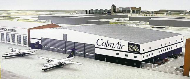 Artist's conception of the new Calm Air heavy-maintenance hangar.