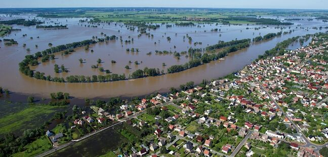 An aerial view of the Elbe river shows flooded fields next to the city of Elster in eastern Germany.
