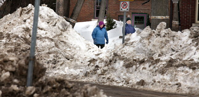 Dwarfed by piles of snow left over from winter, pedestrians make their way along Palmerston Avenue recently.