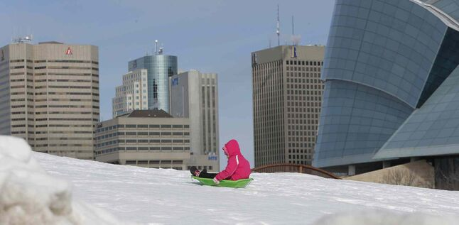 Cooler temperaturess haven't kept kids from sliding at The Forks.