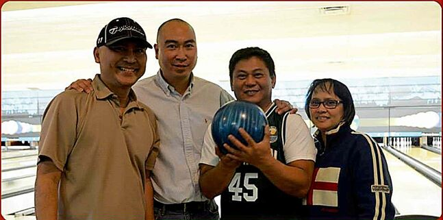 The first Q-Fun bowling event was held March 22 at Chateau Lanes. (L to R): Frank Urbano, Jon Reyes and Abdon and Lolita Chan were among the participants.