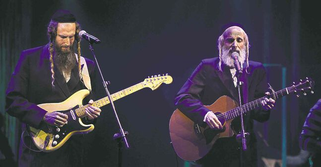 Gil Gat, left, and his  brother Arie  perform on  Israel's  Rising Star  earlier  this week.