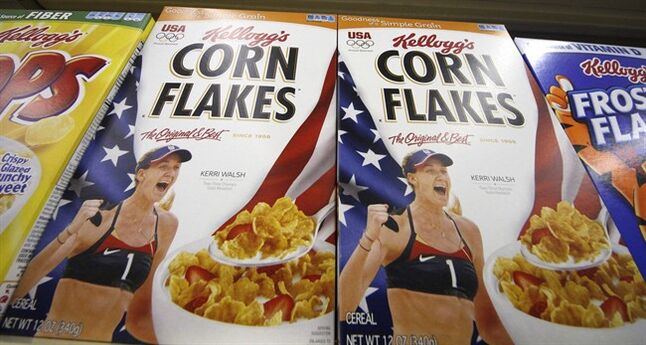Kellogg's cereals are on display at a Pittsburgh grocery market on July 18, 2012. THE CANADIAN PRESS/AP, Gene J. Puskar