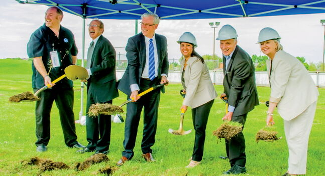 Kildonan MLA Dave Chomiak (second from right) joins (l-r) Andy Haworth (President of Garden City Community Centre), Mayor Sam Katz, Premier Greg Selinger, Coun. Devi Sharma and MP Joy Smith at the groundbreaking for the additions to the Garden City Community Centre.