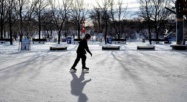 A boy is captured skating under the canopy at The Forks on a perfect afternoon in early December. The holidays are a great time to check out local toboggan slides , pleasure skating rinks and public skating times at your local community centres.