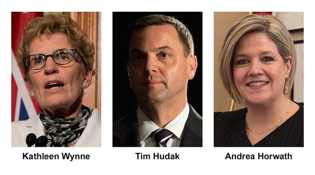Ontario party leader, from left, Liberal Kathleen Wynne, Conservative Tim Hudak and NDP Andrea Horwath, are shown in recent photos. THE CANADIAN PRESS/stf