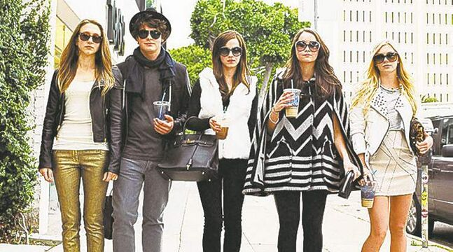 From left, Taissa  Farmiga, Israel  Broussard, Emma  Watson,  Katie Chang and Claire Julien in The Bling Ring.