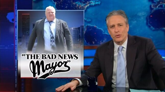 Jon Stewart parodies Toronto Mayor Rob Ford on his May 1, 2014 edition of the Daily Show. THE CANADIAN PRESS/HO, thecomedynetwork.ca