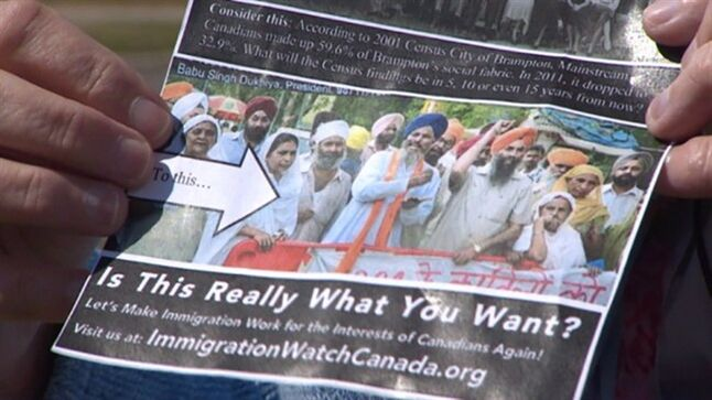 A flyer being distributed in Brampton, Ont., is shown in this recent handout video image. THE CANADIAN PRESS/HO - CBC