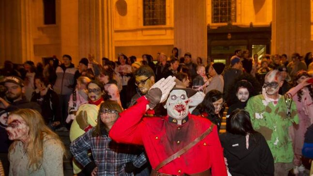 Zombie RCMP officer Mathew MacMillan during the annual Winnipeg Zombie Walk from The Forks to The Manitoba Legislative Building Saturday night. 