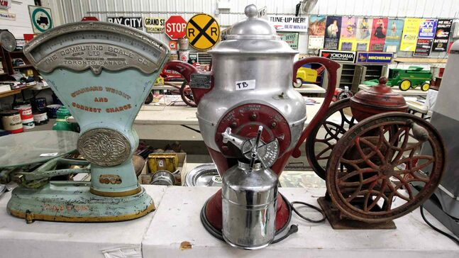 Scales and other old objects from around gas stations and beyond will be for sale.