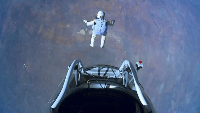 This image made from video, provided by Red Bull Stratos shows pilot Felix Baumgartner of Austria as he jumps out of the capsule during the final manned flight for Red Bull Stratos on Sunday, Oct. 14, 2012. In a giant leap from more than 24 miles up, Baumgartner shattered the sound barrier Sunday while making the highest jump ever a tumbling, death-defying plunge from a balloon to a safe landing in the New Mexico desert. (AP Photo/Red Bull Stratos)