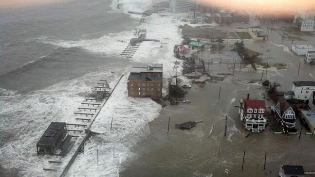 This photo provided by 6abc Action News shows the Inlet section of Atlantic City, N.J., as Hurricane Sandy makes it approach. Sandy made landfall at 8 p.m. near Atlantic City, which was already mostly under water and saw a piece of its world-famous Boardwalk washed away earlier in the day. (AP Photo/6abc Action News, Dann Cuellar)