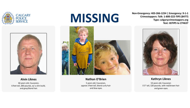 Information on missing family members Nathan O'Brien, 5, and his grandparents Alvin Cecil Liknes and  Kathryn Faye Liknes.