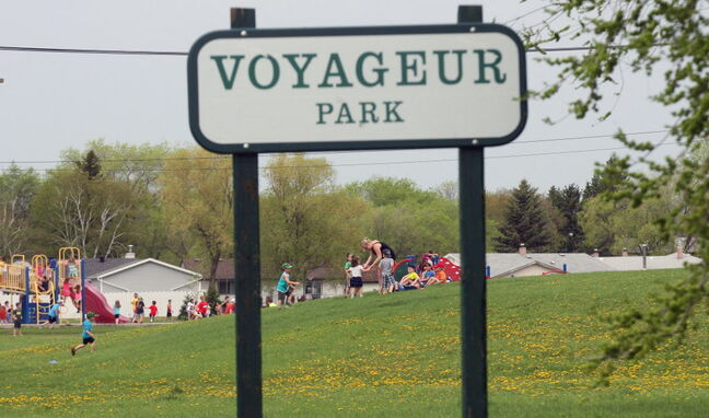 The play structure shown above sits outside the proposed off-leash dog area at Voyageur Park.