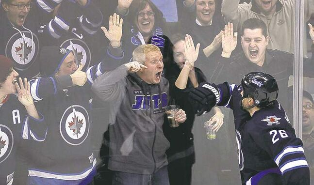 When Blake Wheeler (right) puts the puck in the net, every Winnipeg Jets fan scores.