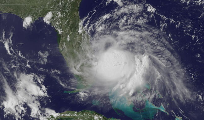 A satellite image from Tuesday shows the storm off the east coast of Florida.