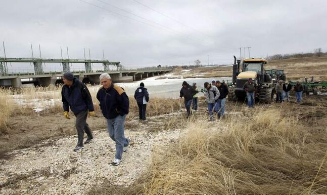 Farmers protest at the Portage Diversion last week.