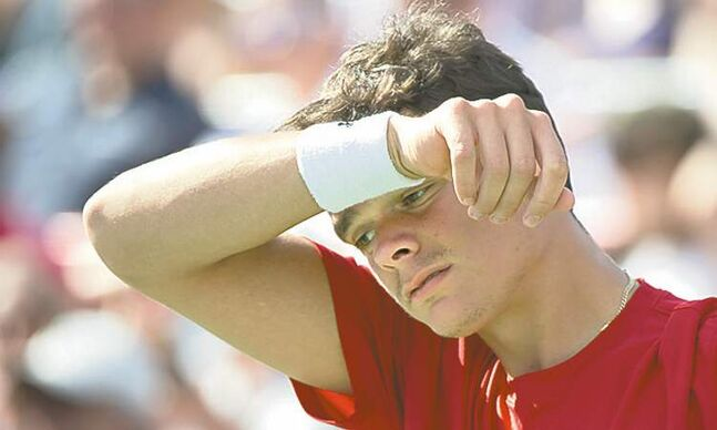 Canada's Milos Raonic reacts in his match against Rafael Nadal from Spain during the final at the Rogers Cup tennis tournament Sunday in Montreal. Nadal won 6-2, 6-2.