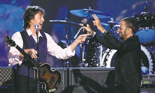 Sir Paul McCartney, left, and Ringo Starr.