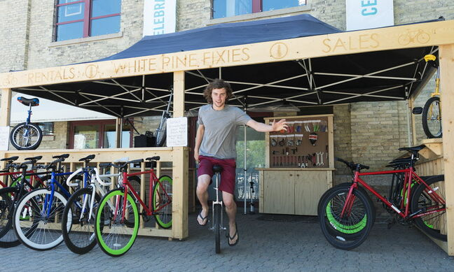 University of Manitoba business student Brendan McAndrew has opened a bike rental and retail store at Forks Public Market for the summer.