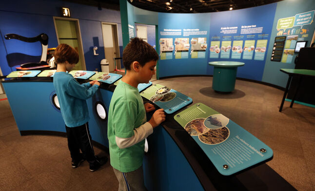 Jacob Block (left), 8, and Dhruv Joshi, 9, get a sneak peek at the Lake Winnipeg: Shared Solutions exhibit, which opens Saturday at the Manitoba Museum.