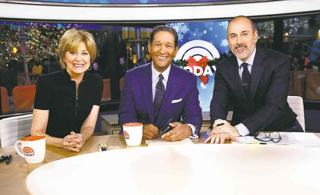 From left, guest hosts Jane Pauley and Bryant Gumbel with host Matt Lauer on NBC's Today show.