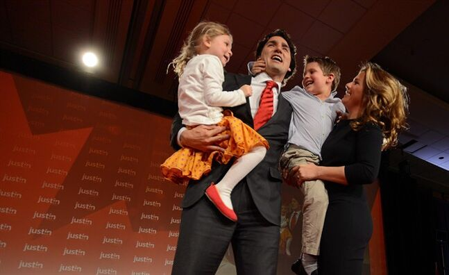 Justin Trudeau, his wife Sophie Gregoire and their children Xavier and Ella-Grace, are pictured April 14, 2013 in Ottawa. THE CANADIAN PRESS/Sean Kilpatrick