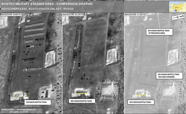 This satellite image provided by NATO Saturday June 14, 2014 shows what NATO says is recent Russian tank movements near the border with Ukraine. The image on the left, dated May 30, 2014 shows the deployment of a Russian military unit. This unit was deployed to this location as part of Russia's build-up of forces along its border with Ukraine. This location is approximately 47 miles (75 kilometres from the Dovzhanskyy, Ukraine border crossing. Please note there are NO Main Battle Tanks on this image. The middle image, dated June 6, 2014, shows the departure of the Russian military unit. However, it shows the arrival of 8 Main Battle Tanks, which were not present on the May 30, 2014 image. The image on the right, dated June 11, 2014, indicates overall, there are 10 Main Battle Tanks in the area (3 parked, 4 in training area, and 3 on low loaders). (AP Photo/NATO)