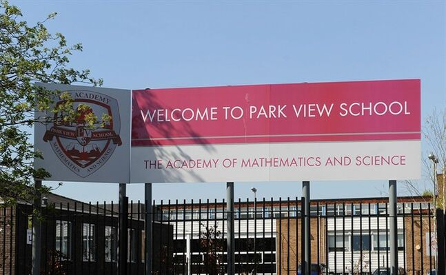 FILE - This is a April 16, 2014 file photo of Park View School in Birmingham central England , Government inspectors say there is a