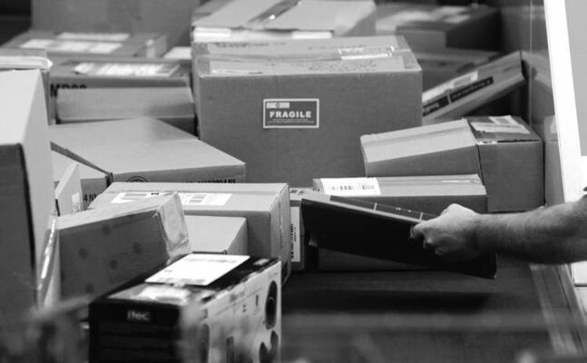 Parcels are checked at the Canada Post sorting centre on Wellington Avenue.