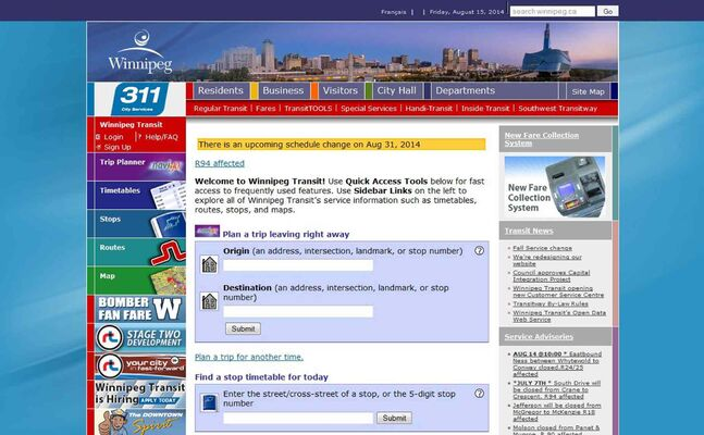 The Winnipeg Transit website.