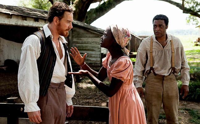 From left, Michael Fassbender, Lupita Nyong'o and Chiwetel Ejiofor.