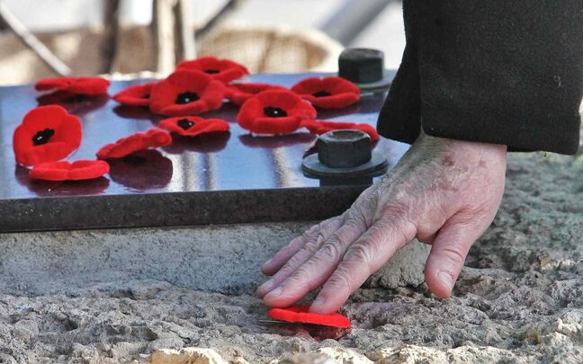 A poppy pin is placed on the Valour Road memorial during the Remembrance Day ceremony.