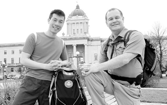 Wayne Glowacki / Winnipeg Free Press Healthy Living Minister Jim Rondeau and partner Dennis Tam will trek the Way of St. James in Spain in August.