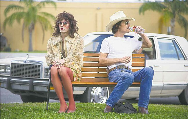 Jared Leto, left, and Matthew McConaughey make strange bedfellows in Dallas Buyers Club.