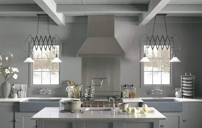 Grey is a popular choice for kitchens, which can be a warm or cool colour, depending on the undertone.
