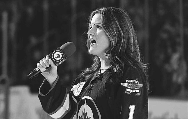 JOE BRYKSA / WINNIPEG FREE PRESS archives Stacey Nattrass sings the national anthem at the MTS Centre before a Jets game.