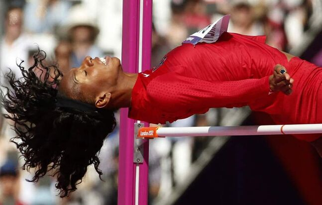 United States' Brigetta Barrett competes in a women's high jump qualification round at the 2012 Summer Olympics. (AP Photo/Matt Dunham)