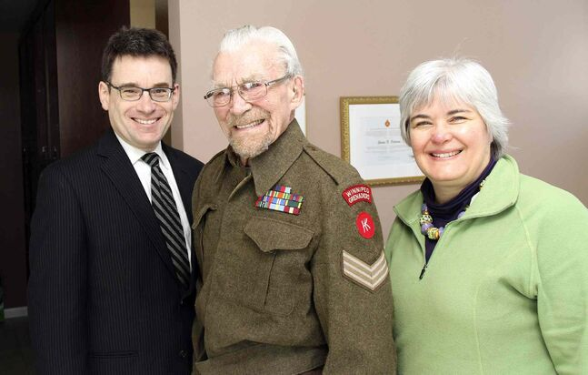 From left: Coun. Brian Mayes (St. Vital), George Peterson and MLA for Riel Christine Melnick are pictured.