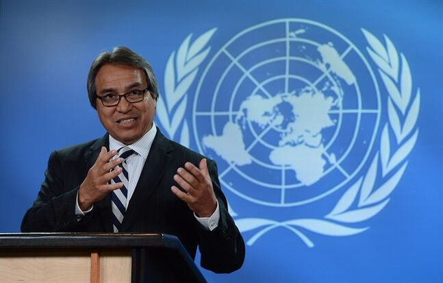 United Nations Special Rapporteur on the rights of indigenous peoples, James Anaya, holds a press conference at the National Press Theatre in Ottawa on October 15, 2013. A new United Nations report says while there have been some positive steps in Canada's relationships with its aboriginal people, much more needs to be done. THE CANADIAN PRESS/Sean Kilpatrick