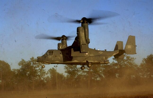 In this photo taken Jan. 26, 2011 and released by the U.S. Air Force, a CV-22 Osprey aircraft of the 8th Special Operations Squadron (SOS)