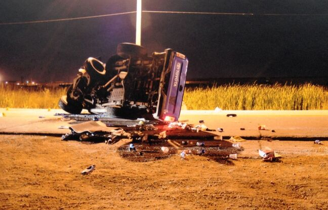 Vann Hansell's truck after a Sept. 6, 2011 fatal crash on Dugald Road