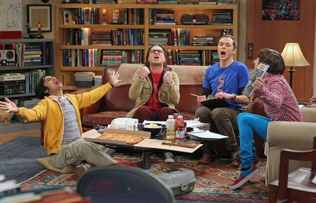 This publicity image released by CBS shows, from left, Kunal Nayyar, Johnny Galecki, Jim Parsons and Simon Helberg in a scene from