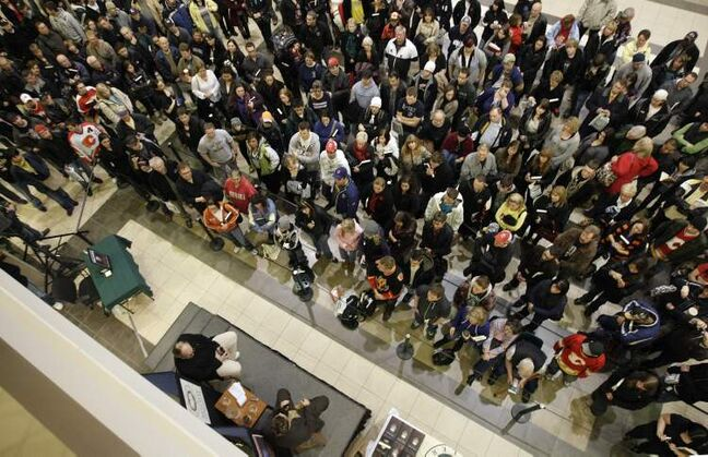 November 3, 2009:  A few hundred people turned up for the Theo Fleury book signing outside of McNally Robinson in Polo Park. Before the signing began, Fleury was interviewed by Randy Turner.