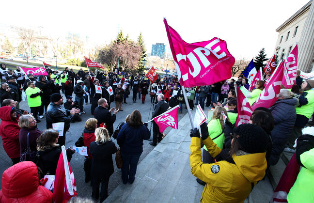 Care workers held at rally at the Manitoba Legislature over the lunch hour on Tuesday over staffing issues.