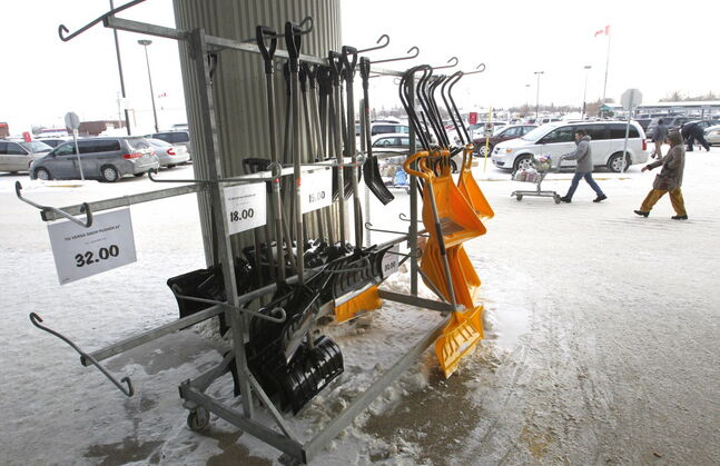 Shovels entice shoppers at the Superstore on McPhillips Street.