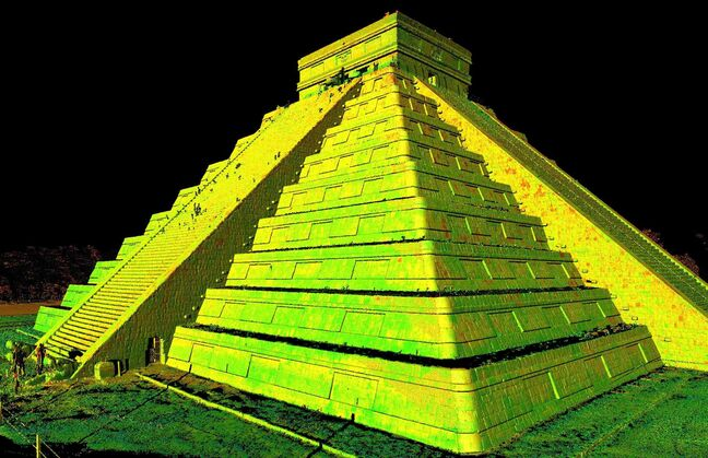 An image generated by 3D laser scan data, shows a perspective of Chichen Itza, in Mexico.