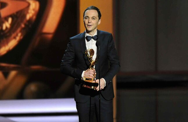 Jim Parsons accepts the award for outstanding lead actor in a comedy series for his role on The Big Bang Theory.