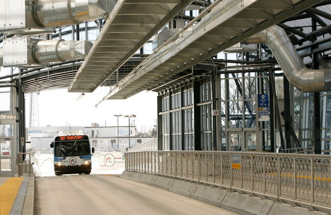 A rapid transit bus arrives at the Osborne Street Station on the opening day of the Southwest Transitway in 2012. Completion of the Southwest Transitway/Pembina underpass project has been delayed until 2020.